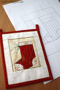 """Новогодняя гирлянда в технике """"paper piecing"""". Флажок шестой; photo tutorial"""