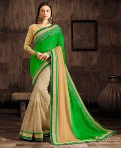 #hey @a1designerwear . Item code: ANBRAAINA1109 . Buy Shapely Green & Cream Georgette #Saree #onlineshopping with #worldwideshipping at  https://www.a1designerwear.com/shapely-green-cream-georgette-sarees-2   . #a1designerwear #a1designerwear . #instashop #worldwide #thankyou