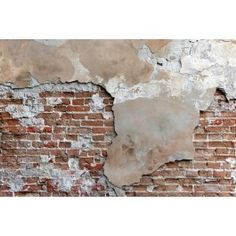 An old brick wall with cracked stucco layer background Textured Brick Wallpaper, Textured Walls, Old Brick Wall, Old Wall, Break Wall, Brick Interior, Interior Design, Industrial Living, Industrial Loft