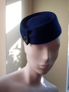 Blue Vintage Style Pillbox Cocktail Hat by MindYourBonce on Etsy