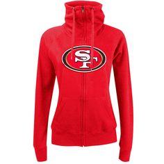 San Francisco 49ers New Era Women's Athletic Funnel Full-Zip Hoodie - Scarlet - $49.59