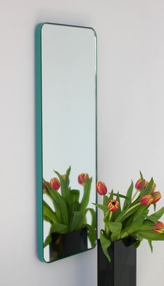 Narrow rectangular Quadris™ mirror with a mint green frame Black Peach, Mint Green, Black White, Bronze Patina, Polished Brass, Bespoke, Turquoise, Colour, Color