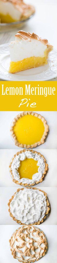 Mile high lemon meringue pie! Tart and creamy lemon custard filling with a billowy meringue top. On SimplyRecipes.com