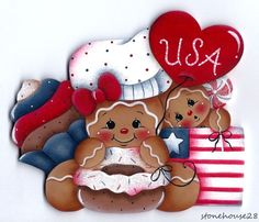 HP GINGERBREAD Patriotic Baker FRIDGE MAGNET #Handpainted