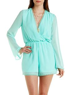 Lace-Trimmed Chiffon Wrap Romper: Charlotte Russe