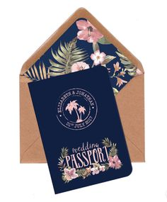 Wedding Invitation, Travel wedding invitation, Tropical wedding invitation, Passport invite, Beach wedding invitation, Navy, Blush, Sage