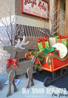 Make a cute DIY wood reindeer from a simple 1x8 board, free printable pattern.