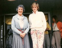 1986 Princess Diana with enthusiastic artist and gardener, Veronica Milner, widow of Desmond Fitzgerald. It was taken during the princess's visit to Milner Home at Qualicum Beach during the celebrations for Expo 86 in Canada