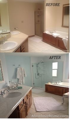 See the amazing before and after of my Master Bathroom remodel #mustlovehome #bathroom