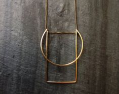 Gold Geometric Necklace Architectural by LoopHandmadeJewelry
