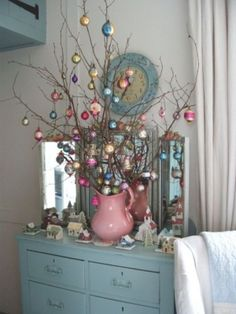 shabby chic Christmas branch tree.  THIS would work for easter too. Pussy willow branches would be cool.