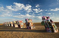 Just west of Amarillo, Texas, 10 sets of graffiti-covered tail fins stand as a tribute to the American dream. The art installation, known as Cadillac Ranch, not far from the I-40 and the historic Route 66, visitors are encouraged to visit, spray paint in hand, to tag the cars.