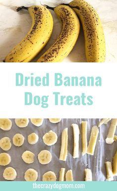 Did you know bananas are a good treat for your fur baby? They are high in fiber, magnesium, and multiple vitamins.The fiber can help your dog if he/she is having any gas problems and the magnesium can promote bone growth and help the body produce protein and absorb vitamins. Here is a super easy recipe for dried bananas!