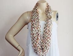༺✿  ✿༻ Marfim Infinito Cachecol laço corrente -  /  ༺✿  ✿༻ Ivory Infinity Scarf chain lariat -