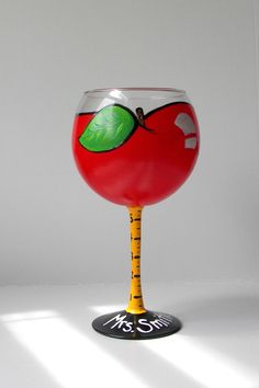 Hand Painted Wine Glass Apple Wine Glass Teacher by EmbellishCraft $18.00