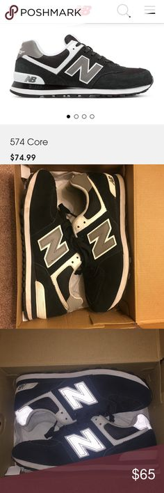 Reflective New Balance Sneakers 574 Hardly worn I don't believe more than 3 times This is the reflective 574 style seen with flash. Originally $75 before taxes Fits women 7/ boys 5 .                                                          ALSO SOLD ON Ⓜ️ERCARI New Balance Shoes Sneakers