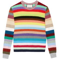 Gucci stripe knit top (69.090 RUB) ❤ liked on Polyvore featuring tops, multicolour, striped knit top, striped long sleeve top, rainbow top, multi color tops and long sleeve tops