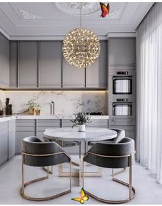 Kitchen Interior Design<br> Modern Kitchen Tables, Modern Grey Kitchen, Grey Kitchen Designs, Modern Kitchen Interiors, Luxury Kitchen Design, Grey Kitchens, Home Decor Kitchen, Interior Design Kitchen, Modern Interior Design