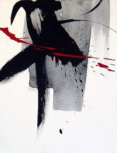 ♂ Abstract ink art with Asian character Water 水 by 中嶋宏行 black with touch of red