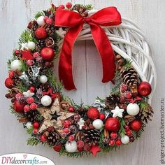 Check out our pick of Christmas door decorations! We have all sorts of Christmas door wreaths, so you will definitely be able to find the best one. Christmas Door Wreaths, Handmade Christmas Decorations, Holiday Wreaths, Christmas Art, Holiday Crafts, Christmas Ornaments, Christmas Inspiration, Holidays, Halloween