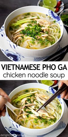 Vietnamese Soup, Vietnamese Cuisine, Pho Ga Recipe, Easy Chicken Pho Recipe, Pho Recipe Easy, Vietnamese Chicken Noodle Soup Recipe, Best Pho Recipe, Chinese Chicken Noodle Soup, Asian Chicken Noodle Soup