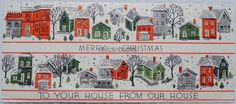 #938 50s SILVERED Houses in the Snow, Vintage Christmas Card-Greeting