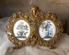 Antique Art Nouveau Picture Frame Double Two Sides Gold Tone Metal Romantic Home Decor Wedding Gift by RosaMeyerCollection on Etsy https://www.etsy.com/listing/195299885/antique-art-nouveau-picture-frame-double