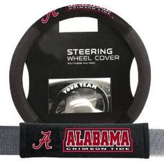 Alabama Crimson Tide Mesh Steering Wheel Cover and Seatbelt Pad Deluxe Set