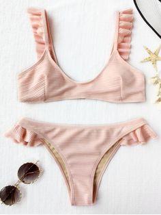 Ribbed Texture Ruffles Bikini Set - SHALLOW PINK L