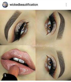 Nude brown make up lips eyes