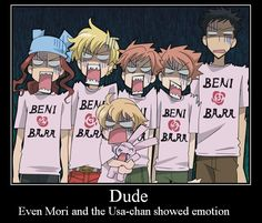 ouran motivational by puppieluvr98.deviantart.com on @deviantART    Didn't even noticed Usa-chan showed an emotion until I saw this.