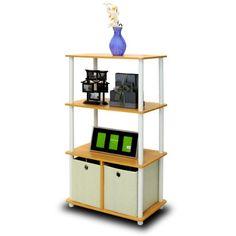 Furinno NW889BE 4-Tier Shelf Storage Shelves Cabinet Bookcase Bookshelf Bookshelves with Bins, Beech Finish Furinno,http://www.amazon.com/dp/B004RIFHV8/ref=cm_sw_r_pi_dp_QOGHtb1ZDD2VC42J