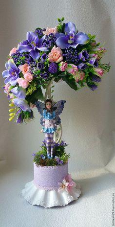 """Топиарии ручной работы. Ярмарка Мастеров - ручная работа. Купить Топиарий """"Фиолетовая феечка"""". Handmade. Фиолетовый, подарок на 8 марта"""