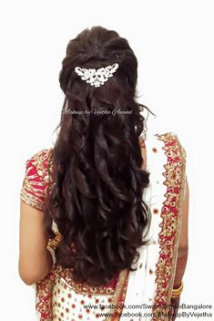 Indian bride's reception hairstyle by Vejetha for Swank Studio. PHOTO CREDIT: Manish Ananda. Bridal hair. Curls. Hair Accessory. Bridal lehenga. Tamil bride. Telugu bride. Kannada bride. Hindu bride. Malayalee bride. Find us at https://www.facebook.com/SwankStudioBangalore