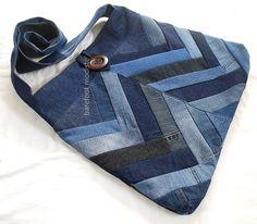 Large Patchwork Denim Bag Ooak Bohemian Sling by BarefootModiste, $67,00