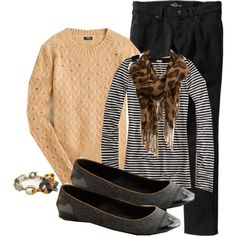 very cute outfit that i want to imitate - J Crew Honeycomb Cable Sweater in Heather Acorn - Size XS  J Crew Classic Stripe Tissue Tee - Size XS  Old Navy Skinny Jeans in Black - Size 6  Old Navy Leopard Print Scarf  J Crew Flannery Ballet Flats