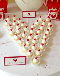 Valentine's Day Party mini cupcakes!  See more party planning ideas at CatchMyParty.com!