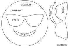 Molde Emoticon com óculos, pode ser feito em feltro ou e.v.a.