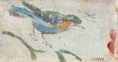 roman fresco, a bird. 8.3 x 14.3 cm. victoria and albert museum, london, uk  http://www.bbc.co.uk/arts/yourpaintings/paintings/a-bird-32686