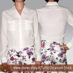 Camicia Donna Manica lunga elegante sera Seta bianco panna