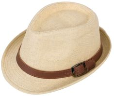 c0975cb0d87 Hemantal Men  amp  Women s Miami Structured Straw Fedora Hat w PU Leather  Band Na