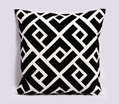 Black and white pillow cover - Linen, Felt - 18x18 inches, Decorative Pillows, Black throw pillow, Greek Key, Contemporary, Made to Order