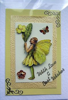 Primrose Fairy HandCrafted 3D Decoupage Card  by SunnyCrystals, $3.55