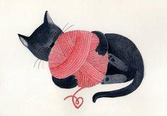 Black cat red yarn cute illustration children decor  by teconlene, $22.00