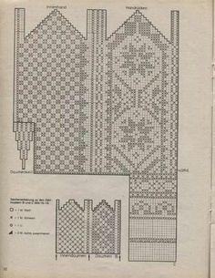 mönster bak o fram Knitted Mittens Pattern, Knit Mittens, Knitting Socks, Mitten Gloves, Hand Knitting, Knitting Charts, Knitting Stitches, Knitting Needles, Knitting Patterns Free