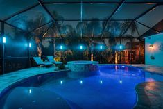 """""""All In One"""" LED Lanai Lighting - Rich Colors, Pastels, and White Light - Quality Florida Pool Cage Lights Backyard Pool Designs, Swimming Pools Backyard, Swimming Pool Designs, Pool Landscaping, Indoor Pools, Lanai Decorating, Pool Cage, Florida Pool, Florida Vacation"""
