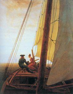 Tableaux sur toile, reproduction de Friedrich, On The Sailing Ship