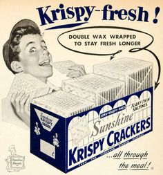 1953 Ad Sunshine Biscuits Krispy Crackers Saltines Snack Food Grocery YBL1