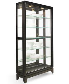 Drake Dual-Slide Contemporary Curio Cabinet - China Cabinets & Curios - Furniture - Macy's
