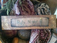 Early Christmas Sampler ~ Reclaimed Wood Sign ~ Primitive Stitchery Holy Night #NaivePrimitive